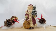 Vintage Collectible Santa Ornament, June McKenna Brand Signed, 1982, Collectible Ornaments,Flat Back Wood Christmas Ornaments,Hand Made by BessyBellVintage on Etsy