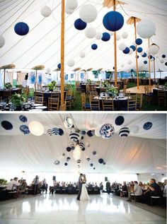 {Wedding Trends} : Hanging Wedding Decor blue and white paper lanterns Wedding Trends, Trendy Wedding, Our Wedding, Dream Wedding, Wedding Ideas, Wedding Blog, Wedding Parties, Gatsby Wedding, Wedding White