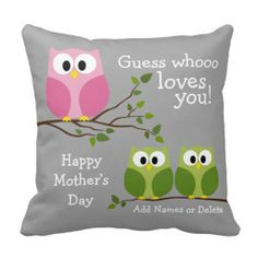 Mothers Day - Cute Owls - Whooo loves you Pillow