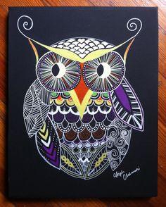 Original Tattoo Inspired Painting, Handpainted Owl Art on 11x14 Black Canvas on Etsy, $75.00