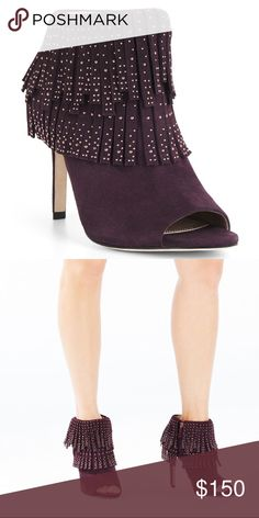 BCBG Burgundy Suede Fringe Bootie BNIB BCBG open toe fringe heeled bootie in soft kid suede. Rose gold studs and fringe detail. Super comfortable and stylish. Dust bag included. BCBG Shoes Ankle Boots & Booties