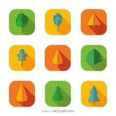 9 tree icons - Free Vector