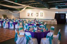 Peacock purple/turquoise wedding decor
