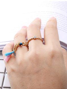 Golden Tassel Drop Crystal Detail Twisted Ring Pack