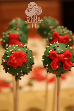 Wednesday, December 22, 2010  It's getting closer to Christmas! green ball pops with red Christmas layons