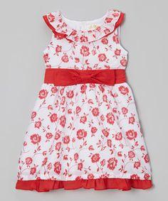 Red Rose Bow Ruffle Dress - Toddler & Girls