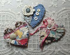 textile brooch fiber art brooch heart original by needletraditions