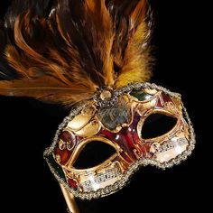 Take 10% off this mask, coupon available on our fan page. Follow store for info: http://www.etsy.com/shop/4everstore  Our classic elegant gold and white mask with soft feathers and macrame lace mask is created for our High Fashion Collection line of new masks this season. The sparkling rhinestone details give this mask stunning and classical features. Wearing this classic Venetian resin mask to any events will guarantee an absolute stunning impression that will last forever in everyones…