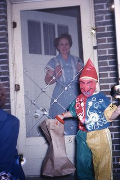 vintage Halloween photo child costume costumes trick or treat treating devil clown weird bizarre retro 1950s Halloween, Vintage Halloween Photos, Halloween Pictures, Vintage Holiday, Holidays Halloween, Happy Halloween, Halloween Decorations, Halloween Costumes, Halloween Stuff