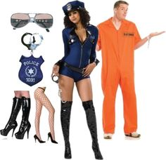 "Looking for a fun couples costume idea for you and your honey this Halloween? Don't forget about the time-honored favorite of Cops and Robbers! Cop costume and hat, glasses, purse, boots, tights, & prisoner costume available in our store! ""Sexy Cop & Prisoner Couples Costume Set"" by costumelicious on Polyvore    #CouplesCostume #CopCostume #PrisonerCostume #HalloweenCostume"