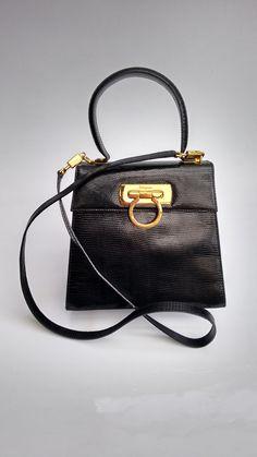 60cc5f5c065 FERRAGAMO Bag. Salvatore Ferragamo Vintage Black Lizard Embossed Leather  Gancini Kelly Style Shoulder Bag . Italian designer purse