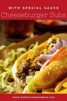 Party sandwiches are always a crowd favorite, so give these cheeseburger subs a try at your next gathering! These cheeseburger subs with ground beef are simple to make and feature a homemade special sauce. Everyone always loves this fun party food. Get the recipe for these sub sandwiches! #cheeseburgersubs #cheeseburgersubsgroundbeef #cheeseburgersubrecipe #subsandwichideas #subsandwiches #footballpartyfood #partyfood Party Dishes, Food Dishes, Dinner Recipes, Lunch Recipes, Summer Recipes, Party Sandwiches, Tailgating Recipes