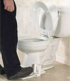 Creative toilet seat lifter ==> http://www.lovedesigncreate.com/flipper-the-most-reliable-and-inexpensive-toilet-seat-lifter/