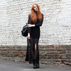 Olivia Emily - Romwe Crochet Skirt (Sold Out), Cheap Monday Sweater, River Island Boots - Asleep.