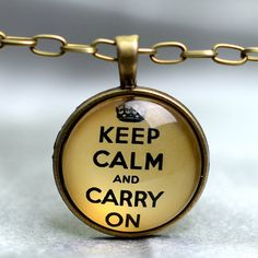 Keep Calm and Carry On Glass Dome Pendant Necklace Antique Bronze ON SALE