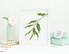 A watercolor painting of Eucalyptus leaves | Printable art
