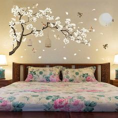 Room Decor For Women - Big Size Tree Wall Stickers Birds Flower Home Decor Wallpapers for Living Room Bedroom DIY Vinyl Rooms Decoration. Decoration Stickers, Wall Stickers Home Decor, Wall Art Decor, Bedroom Wall Stickers, Wall Stickers Birds, Bird Wall Decals, Vinyl Room, Simple Wall Art, Inspire Me Home Decor