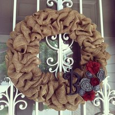 Burlap Wreath...good tutorial!  Lauren n I made these and they turned out super cute!