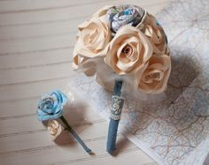 Map and Paper Flower Wedding Bridal 15 Rose Bouquet by DiddleBug
