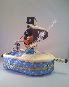 Pirate Ship Diaper Cake - 9990107 - Baby Boy - Diaper Cakes - by Babyfavorsandgifts