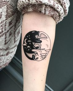 day and night cats tattoo