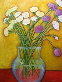 LARGE 30 X 40 CARNATIONS Original Oil Painting Flowers Still Life Impressionist #Impressionism
