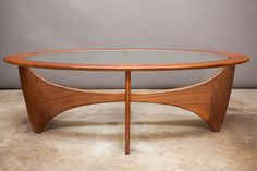 Danish Modern / Mid Century Coffee Table - Oval Biomorphic Teak Frame W/ Glass…