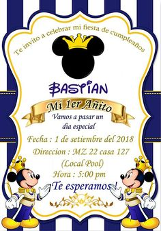 Baby Mickey Mouse Cake, Festa Mickey Baby, Mickey Mouse Birthday Theme, Mickey 1st Birthdays, Prince Birthday Party, Blue Birthday Parties, Baby Boy 1st Birthday, Happy Birthday, Baby Boy Baptism