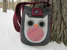 Owl crossbody totebag recycled wool by granniesraggedybags on Etsy, $30.00