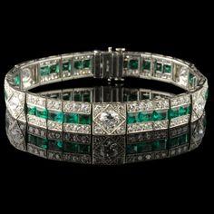 Diamond and emerald art deco bracelet signed Raymond Yard, ca 1925