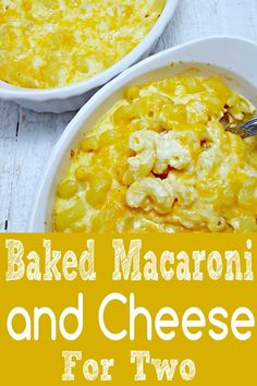 Baked Macaroni and Cheese is gooey, rich, creamy comfort food. I love the look and texture of this cavatappi pasta but any pasta works great in this recipe. Macaroni And Cheese Recipe For Two, Baked Mac And Cheese Recipe, Mac And Cheese Homemade, Baked Macaroni, Macaroni Cheese, Cheese Taco, Cooking For Two, Meals For Two, Small Meals