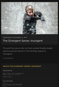 The Divergent Series: Insurgent Coming to HBO December 12th