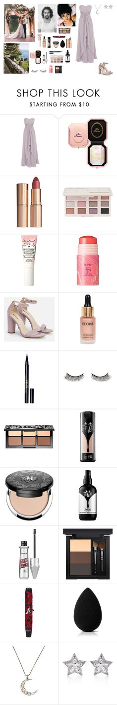 """""""Amelia and Jason attending a friend's wedding"""" by circe-1emon ❤ liked on Polyvore featuring Coast, Too Faced Cosmetics, John Lewis, tarte, JustFab, Eloise, Stila, Battington, Sephora Collection and Kat Von D"""