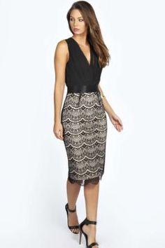 Boutique Tasha Pleated Plunge Lace Bodycon Midi Dress