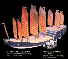 Chinese Exploration: The Journey of Zheng He and others - Pre-Columbian Transoceanic Travel Zheng He, Ocean Sailing, Old Sailing Ships, Nanjing, Chinese Boat, Spanish Galleon, China Map, Ship Drawing, Chinese Architecture