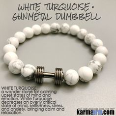 Yoga Bracelets Manifesting Meditation Tibetan Buddhist Beaded Mala Men & Women. #LOA Law of Attraction. White Turquoise Gunmetal Brabell Dumbbell.