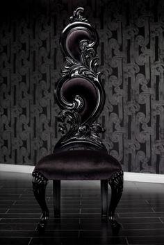 Black Velvet Baroque High Back Chair by Leticia M