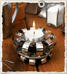 Baked Beans? Candle light? Ok... take a can... follow the pattern and add a tealight... pretty cool!