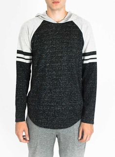 Brooklyn Cloth Grid-Iron Long Sleeve Raglan Hoodie for Men in Grey