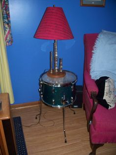 "Repurposed ""Drum""table and ""instrument"" lamp (My 1st flute)"