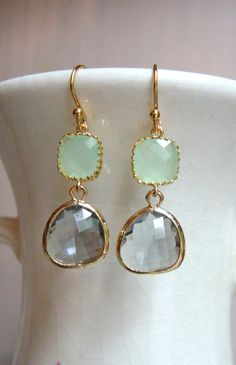 Cool Mint Green and Gray Glass Dangle Earrings by DesignsbyJocelyn, $32.00