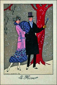 George Barbier - The Four Seasons I,  L' Hiver ... Winter 1919