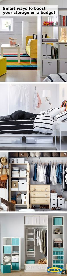 Storage can help to keep even the smallest of spaces organized! A college room or dorm is the perfect place for IKEA underbed storage, storage boxes and plenty of shelving.