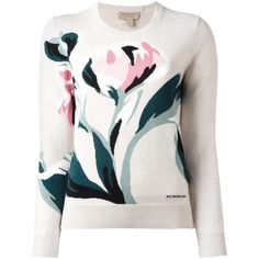 Burberry flower intarsia jumper ($598) ❤ liked on Polyvore featuring tops, sweaters, white tops, merino sweater, burberry, merino wool tops and flower jumper