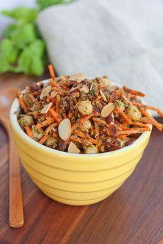 Carrot, raisin, almond, quinoa and chickpea Salad with coriander dressing