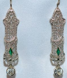 #422 14k White Gold .76ct Old European Cut Diamond and Green Stone Earrings