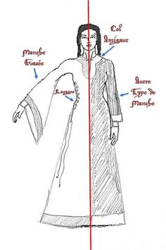 """Costume-12th -13th century Norman woman (A really interesting little page. Please note: it is in French--I've already told google translate that the correct word is """"neck""""; there's all sorts of weird pop-ups; there's no larger views of the diagrams... zoom works, tho. ^mm)"""