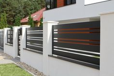 32 Cool Modern Fence Design Ideas Best For Modern House Front Wall Design, House Fence Design, Wood Fence Design, Modern Fence Design, Modern House Design, Door Design, Garden Design, French Cottage Garden, Gate Designs Modern