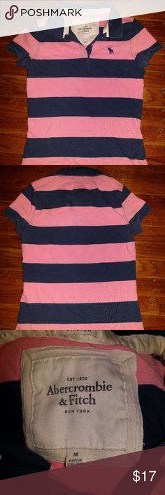Abercrombie & Fitch Stretch Striped Polo Shirt Armpit to armpit 15.25, shoulder to shoulder 11.5, sleeve length 5.25, front length 21.75. Abercrombie & Fitch Tops