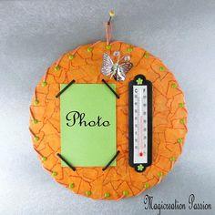 cadre photo thermomètre papillon sur vinyl 45 tours orange Creations, Tours, Christmas Ornaments, Transparent, Decoration, Polyester, Holiday Decor, Frame, Etsy